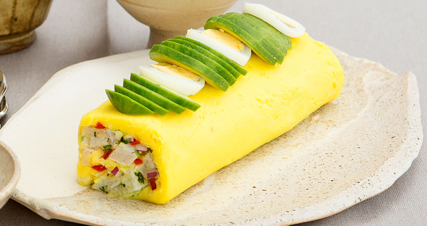 CAUSA ROLLED WITH CEBICHE